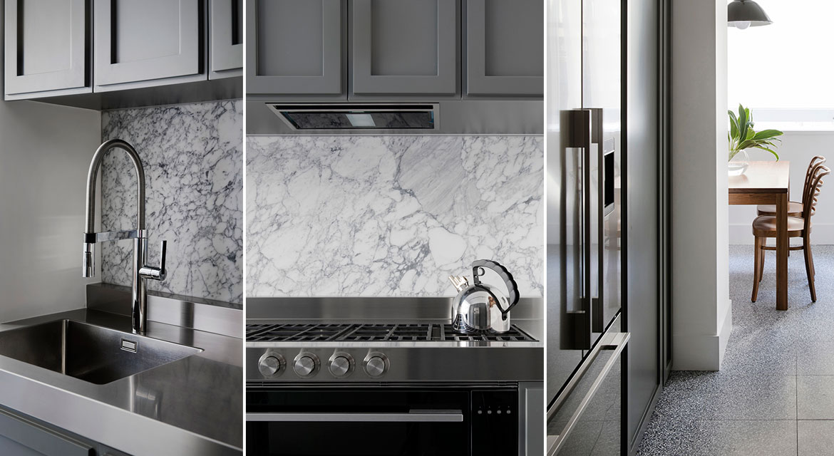 marble kitchen splashback and abundant storage